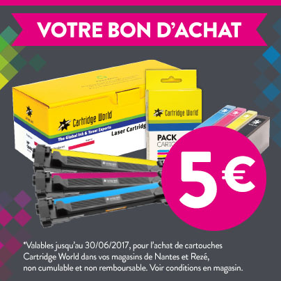 Coupon 5€ - Cartridge World Rezé