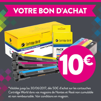 Coupon 10€ - Cartridge World Rezé